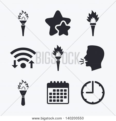 Torch flame icons. Fire flaming symbols. Hand tool which provides light or heat. Wifi internet, favorite stars, calendar and clock. Talking head. Vector