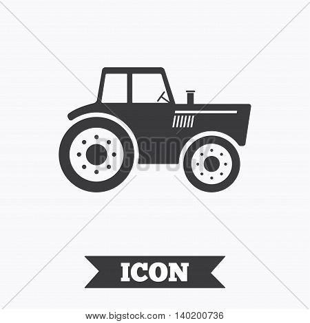 Tractor sign icon. Agricultural industry symbol. Graphic design element. Flat tractor symbol on white background. Vector
