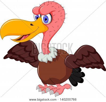 cute Vulture cartoon waving for you design