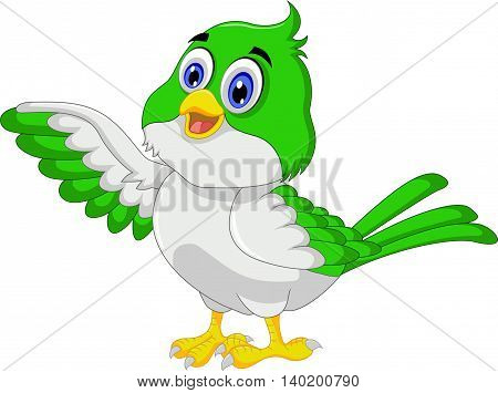 Cute bird cartoon posing for you design