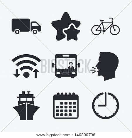 Transport icons. Truck, Bicycle, Public bus with driver and Ship signs. Shipping delivery symbol. Family vehicle sign. Wifi internet, favorite stars, calendar and clock. Talking head. Vector