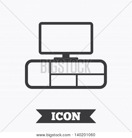 TV table sign icon. Modern furniture symbol. Graphic design element. Flat tV table symbol on white background. Vector