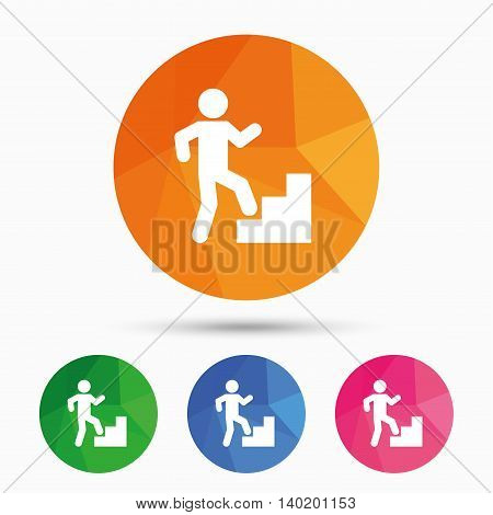 Upstairs icon. Human walking on ladder sign. Triangular low poly button with flat icon. Vector