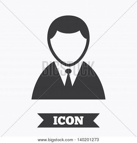 User sign icon. Person symbol. Human in suit avatar. Graphic design element. Flat person symbol on white background. Vector