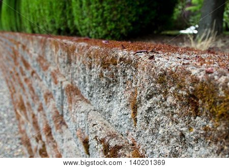 Stone Retaining Wall Covered By Moss