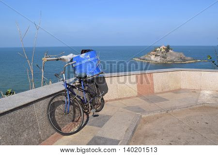 bikecycle and Hon Ba island near Vung Tau beach Vietnam