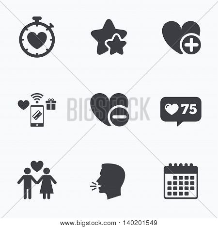 Valentine day love icons. Love heart timer symbol. Couple lovers sign. Add new love relationship. Flat talking head, calendar icons. Stars, like counter icons. Vector