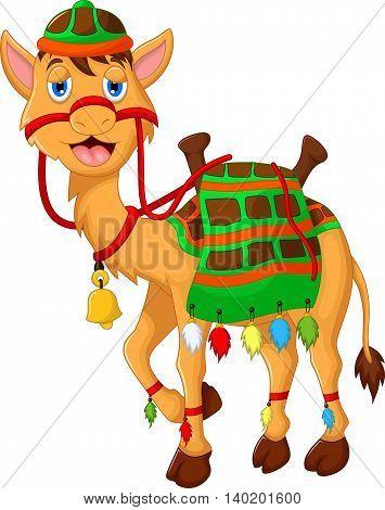 cute camel cartoon walking for you design