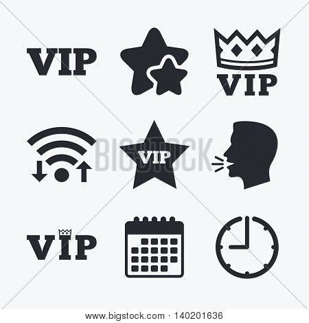 VIP icons. Very important person symbols. King crown and star signs. Wifi internet, favorite stars, calendar and clock. Talking head. Vector
