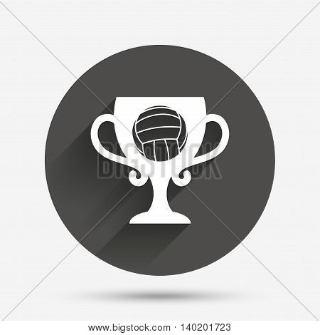 Volleyball sign icon. Beach sport symbol. Winner award cup. Circle flat button with shadow. Vector