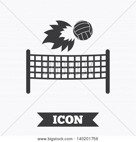 Volleyball net with fireball sign icon. Beach sport symbol. Graphic design element. Flat volleyball symbol on white background. Vector