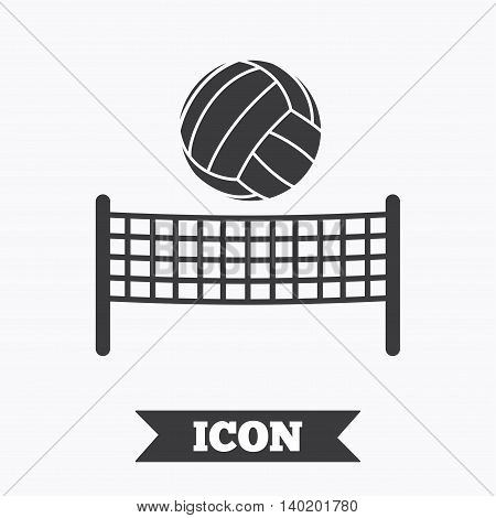 Volleyball net with ball sign icon. Beach sport symbol. Graphic design element. Flat volleyball symbol on white background. Vector