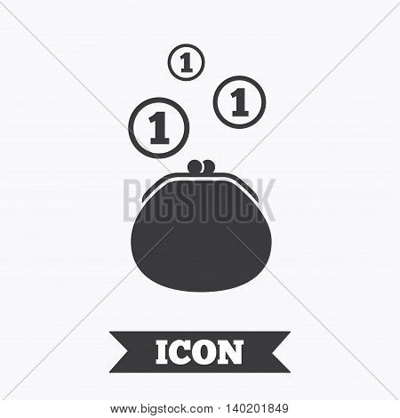Wallet sign icon. Cash coins bag symbol. Graphic design element. Flat wallet symbol on white background. Vector