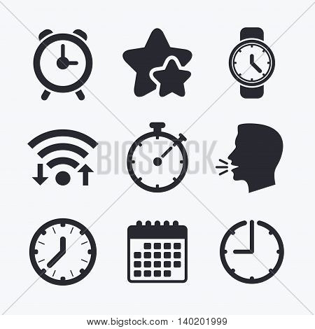 Mechanical clock time icons. Stopwatch timer symbol. Wake up alarm sign. Wifi internet, favorite stars, calendar and clock. Talking head. Vector