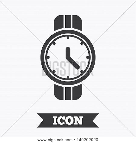 Wrist Watch sign icon. Mechanical clock symbol. Men hand watch. Graphic design element. Flat mechanical clock symbol on white background. Vector