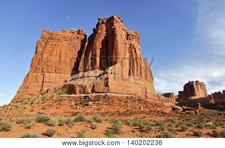 Rock tower in Arches National Park. Utah USA