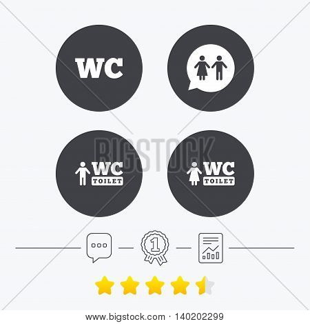 WC Toilet icons. Gents and ladies room signs. Man and woman speech bubble symbol. Chat, award medal and report linear icons. Star vote ranking. Vector