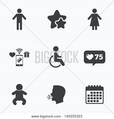 WC toilet icons. Human male or female signs. Baby infant or toddler. Disabled handicapped invalid symbol. Flat talking head, calendar icons. Stars, like counter icons. Vector