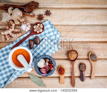 Food Cooking Ingredients. Dried Spices Herb Cinnamon Sticks,bay Leaves,ginger,turmeric,nutmeg,chili,