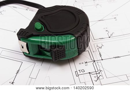 Tape Measure On Electrical Construction Drawing Of House