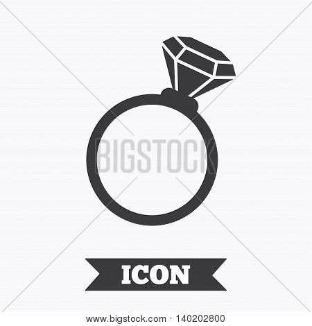 Ring sign icon. Jewelry with diamond symbol. Wedding or engagement day symbol. Graphic design element. Flat jewelry symbol on white background. Vector