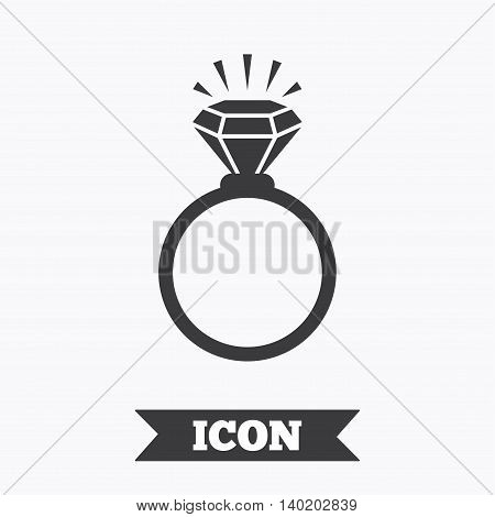 Ring sign icon. Jewelry with shine diamond symbol. Wedding or engagement day symbol. Graphic design element. Flat jewelry symbol on white background. Vector