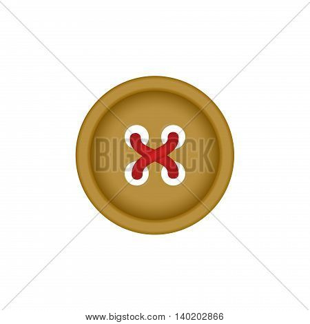 Sewing button in brown design with sewing thread on white background
