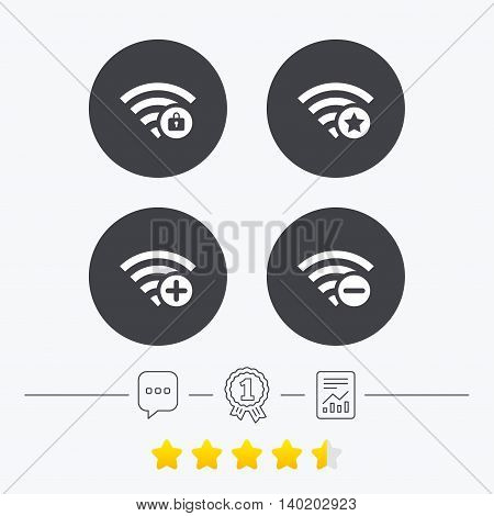 Wifi Wireless Network icons. Wi-fi zone add or remove symbols. Favorite star sign. Password protected Wi-fi. Chat, award medal and report linear icons. Star vote ranking. Vector