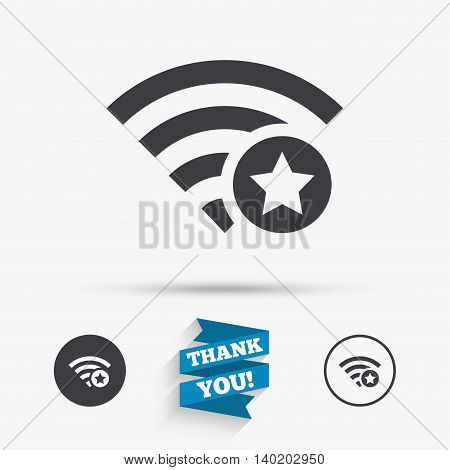Wifi star sign. Favorite Wi-fi symbol. Wireless Network icon. Wifi zone. Flat icons. Buttons with icons. Thank you ribbon. Vector