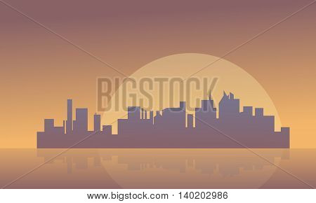 Silhouette of buildings and big moon vector illustraion