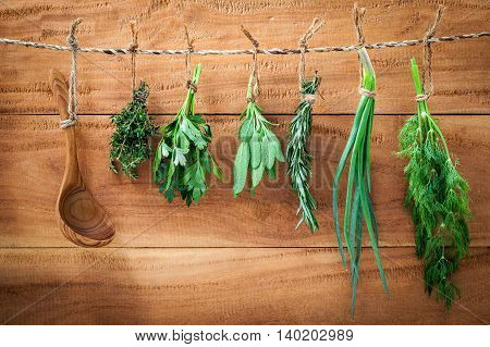 Assorted Herb Bundles Hanging Parsley ,sage,rosemary, Dill,spring Onion And Thyme For Seasoning And