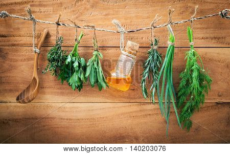 Assorted Herb Bundles Hanging Parsley ,sage,rosemary, Dill,spring Onion And Thyme For Seasoning Conc