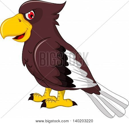Cute Eagle cartoon standing for you design
