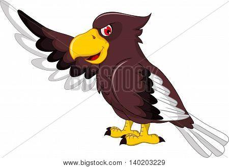Cute Eagle cartoon posing for you design