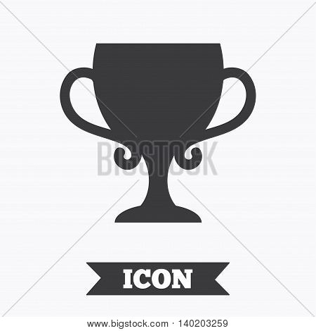 Winner cup sign icon. Awarding of winners symbol. Trophy. Graphic design element. Flat winner cup symbol on white background. Vector
