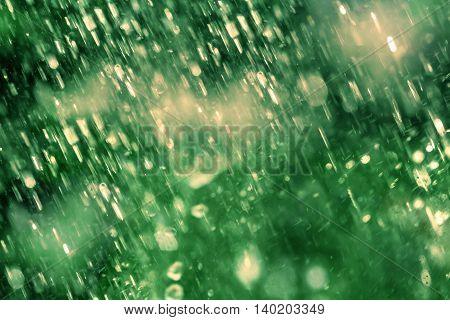 Abstract blur background of Blue Drops falling down of heavy rain weather