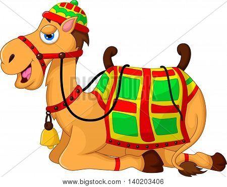 cute camel cartoon sitting for you design