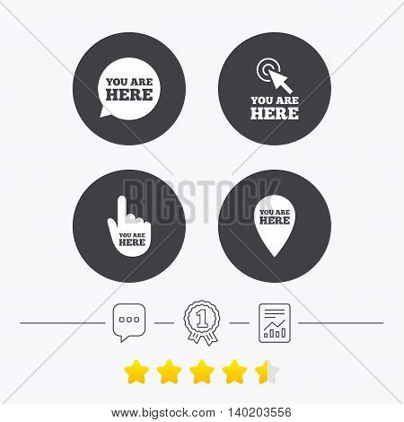 You are here icons. Info speech bubble symbol. Map pointer with your location sign. Hand cursor. Chat, award medal and report linear icons. Star vote ranking. Vector