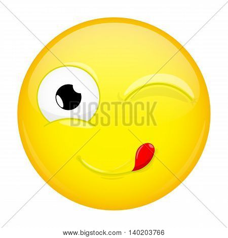 Lick lips emoji. Wink emotion. Yummy emoticon. Vector illustration smile icon.