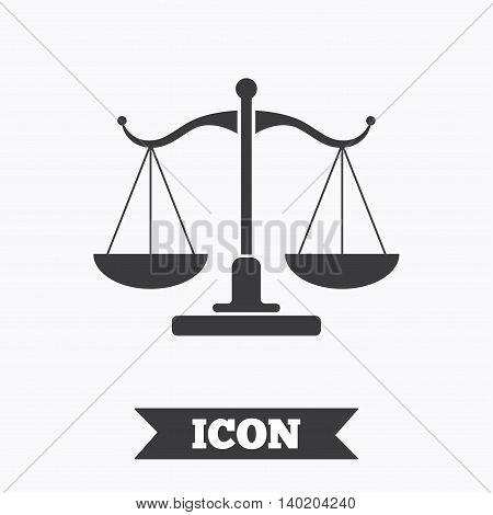 Scales of Justice sign icon. Court of law symbol. Graphic design element. Flat scales of justice symbol on white background. Vector