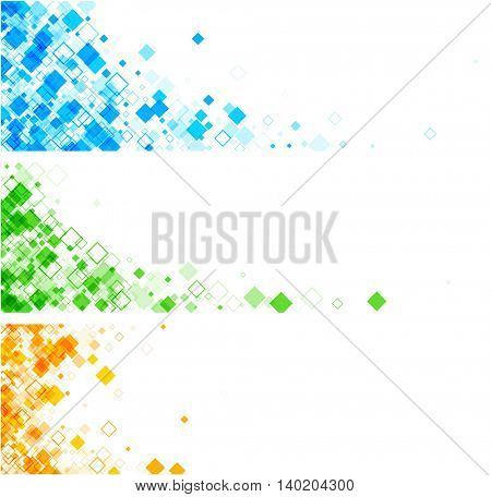 White banner with blue, green, orange rhombs. Vector paper illustration.