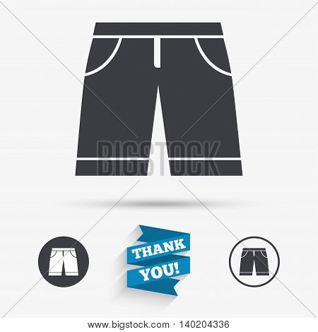 Men's Bermuda shorts sign icon. Clothing symbol. Flat icons. Buttons with icons. Thank you ribbon. Vector