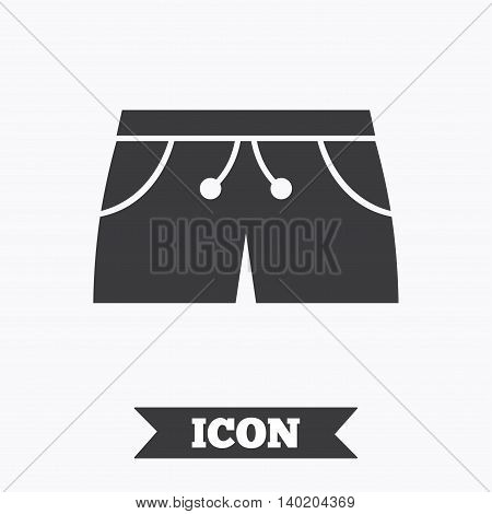 Women's sport shorts sign icon. Clothing symbol. Graphic design element. Flat sport shorts symbol on white background. Vector