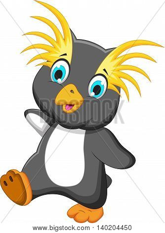 funny king penguin cartoon running for you design