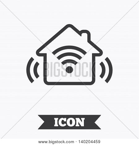 Smart home sign icon. Smart house button. Remote control. Graphic design element. Flat smart house symbol on white background. Vector