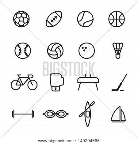 Set of sport line icons vector illustration on white background
