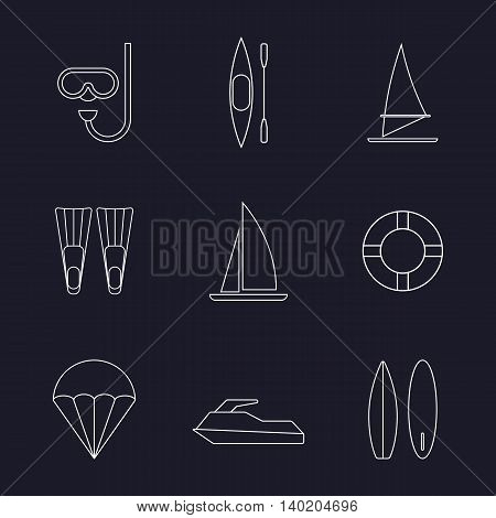 Set of water sport line icons isolated vector illustration