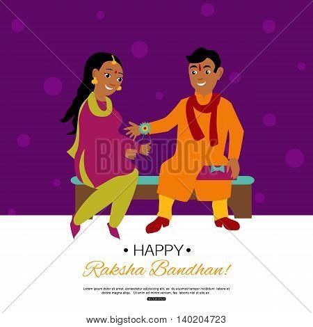 Raksha Bandhan Indian traditional holiday poster. Vector eps 10 format.