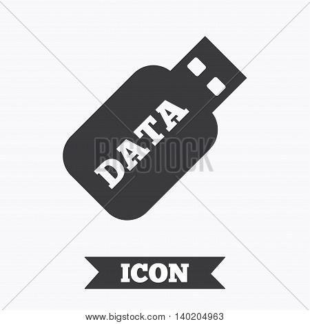 Usb Stick sign icon. Usb flash drive button. Graphic design element. Flat usb symbol on white background. Vector