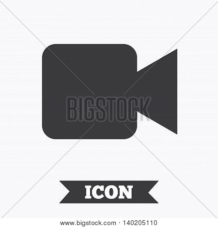 Video camera sign icon. Video content button. Graphic design element. Flat video camera symbol on white background. Vector